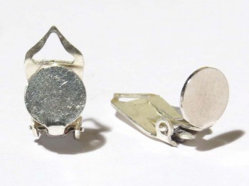 Ohrclips mit Platte 7 mm, 925 Silber