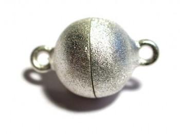 Magnetverschluss Kugel 10 mm gebürstet, 925 Silber