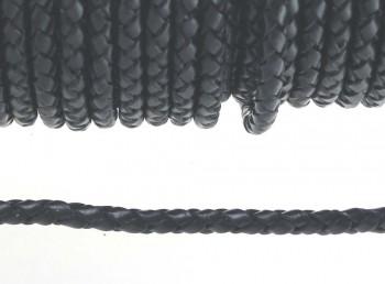Lederband geflochten 5 mm schwarz, 50 cm
