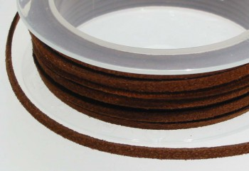 Textilband Wildlederoptik flach 3 mm cognacbraun, 50 cm