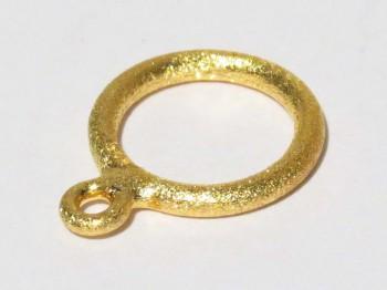 vergoldeter Ring doppelt 12 mm gebürstet, 925 Silber
