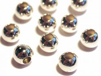 10 Stk. Kugeln 4 mm, 925 Silber m. großem Fadenloch