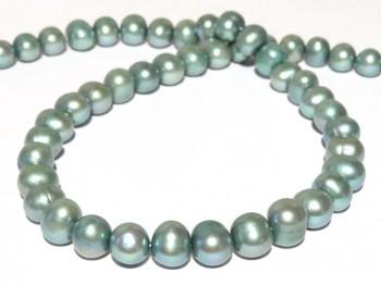 Strang Süßwasserperlen 10 - 11 mm, Farbe blaugrün