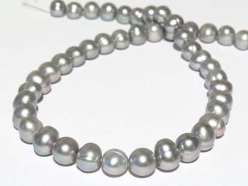 Strang Süßwasserperlen 10 - 11 mm, Farbe grau