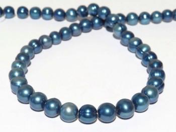 Strang Süßwasserperlen 10 - 11 mm, Farbe blau