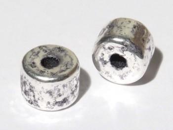 Keramikperle altsilber - Rohr 6 x 8 mm