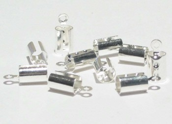 Klemmbleche zum Quetschen versilbert, 3 - 4mm Band - 10 Stk