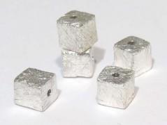 Würfel gebürstet 5 mm mittig gebohrt, 925 Silber