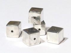 Würfel 5 mm mittig gebohrt, 925 Silber