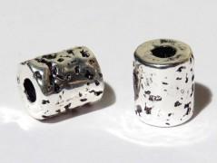 Keramikperle altsilber - Rohr Hammerschlag 10 x 8 mm