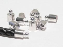 Endkappen für 5 mm Band versilbert, 4 Stk.
