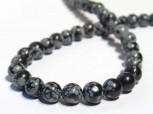 Strang Schneeflocken-Obsidian Kugeln 8 mm