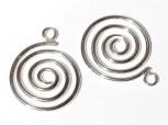Spirale 13 mm mit Öse, 925 Silber -2 Stk.