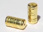 Keramikperle vergoldet - Rohr mit Gravur 16 x 8 mm