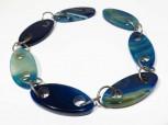 Strang Achat Navetten blau-grün 48 x 22 mm